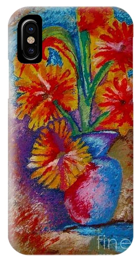Oil Pastels Drawings IPhone X Case featuring the pastel Spring Pleasures by Jon Kittleson