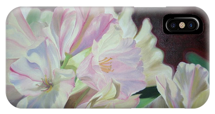 Flower IPhone X Case featuring the painting Spring Rhodys by Nancy Jolley