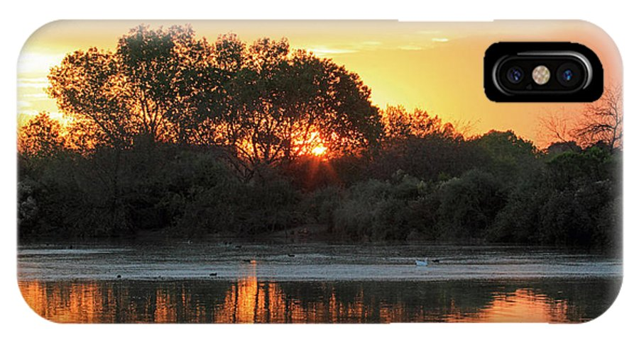 Sunrise On Pond Seven At The Gilbert Arizona Riparian Preserve. IPhone X Case featuring the photograph Spring Sunrise Gilbert Arizona by Peri Ann Taylor