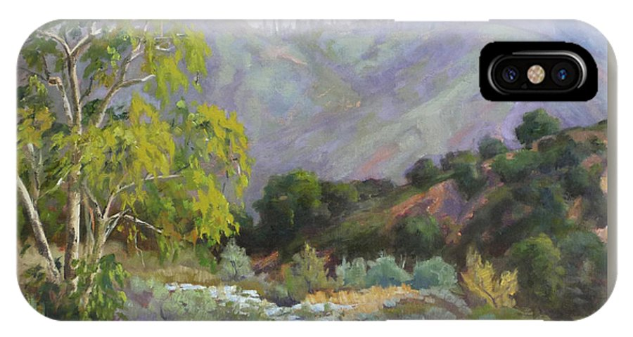 Landscape IPhone X Case featuring the painting Spring Sycamore by Sharon Weaver