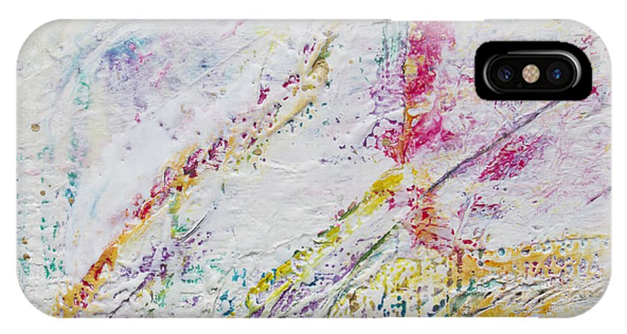 Encaustic Mixed Media Abstract IPhone X Case featuring the painting Spring by Terry Juhl