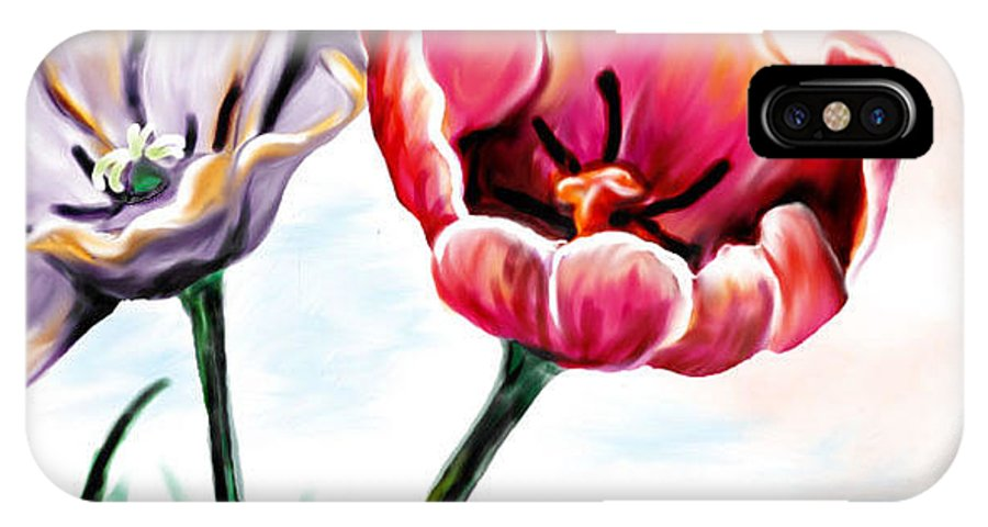Spring IPhone X / XS Case featuring the digital art Spring Tulips by Jan Leppert