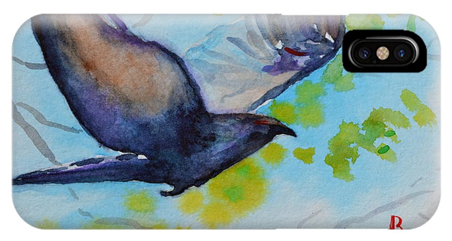 Crow IPhone X Case featuring the painting Spring Wings by Beverley Harper Tinsley