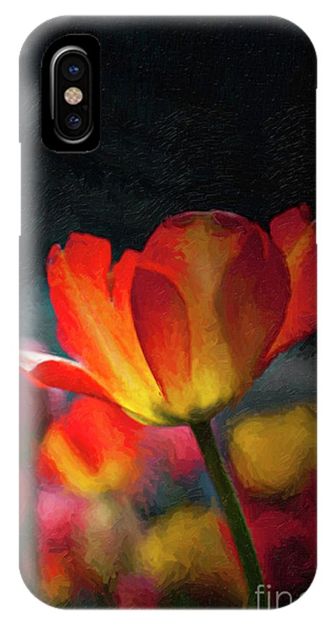 'happy Flowers' IPhone X Case featuring the photograph Springtime Tulips Digital Painting by Linda Matlow