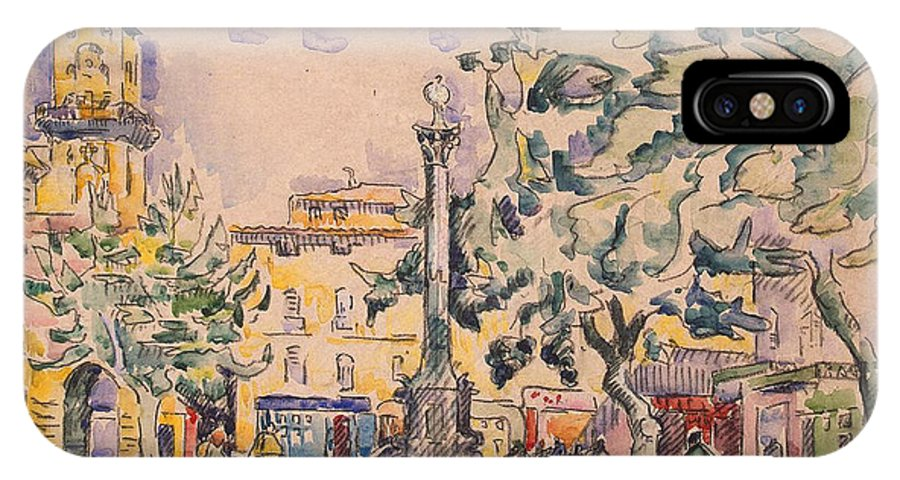 Signac IPhone X Case featuring the painting Square Of The Hotel De Ville by Paul Signac
