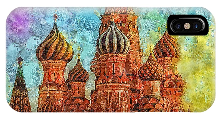 St Basil IPhone X Case featuring the painting St Basil by Mo T