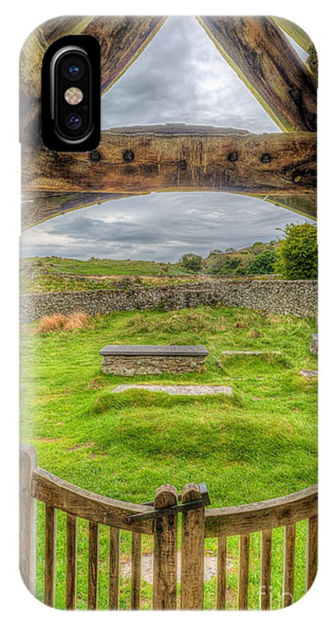 British IPhone X Case featuring the photograph St Celynnin Graveyard by Adrian Evans