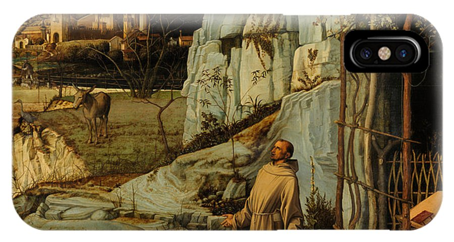 Bellini IPhone X Case featuring the painting St Francis Of Assisi In The Desert by Giovanni Bellini