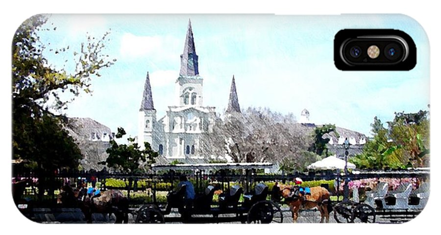 French Quarter IPhone X Case featuring the photograph St Louis Cathedral New Orleans by Travis Tapley