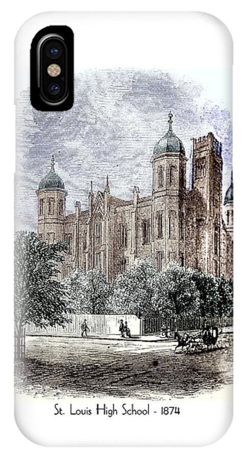 IPhone X Case featuring the digital art St. Louis High School - 1874 by John Madison
