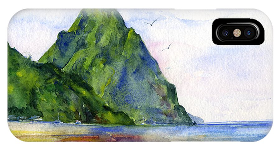 Island IPhone X Case featuring the painting St. Lucia by John D Benson