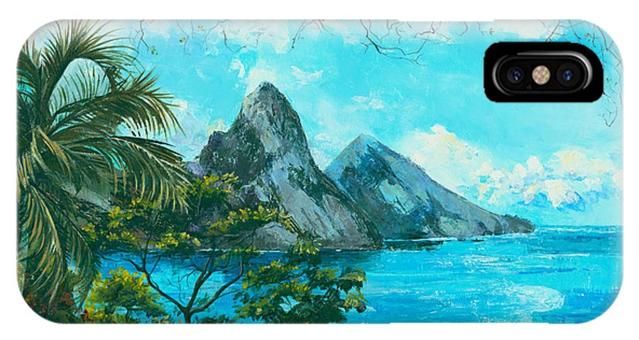 Mountains IPhone X Case featuring the painting St. Lucia - W. Indies by Elisabeta Hermann
