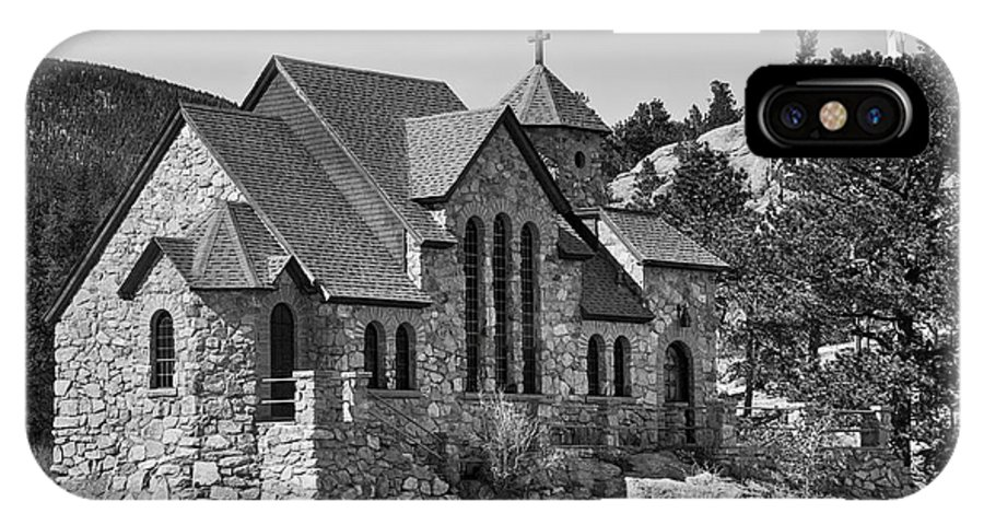 Chapel On The Rock IPhone X Case featuring the photograph St Malo Chapel On The Rock Colorado Bw by James BO Insogna