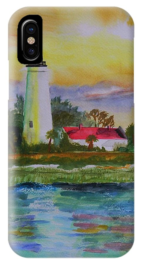 Landscape IPhone X Case featuring the painting St. Marks Lighthouse-2 by Warren Thompson