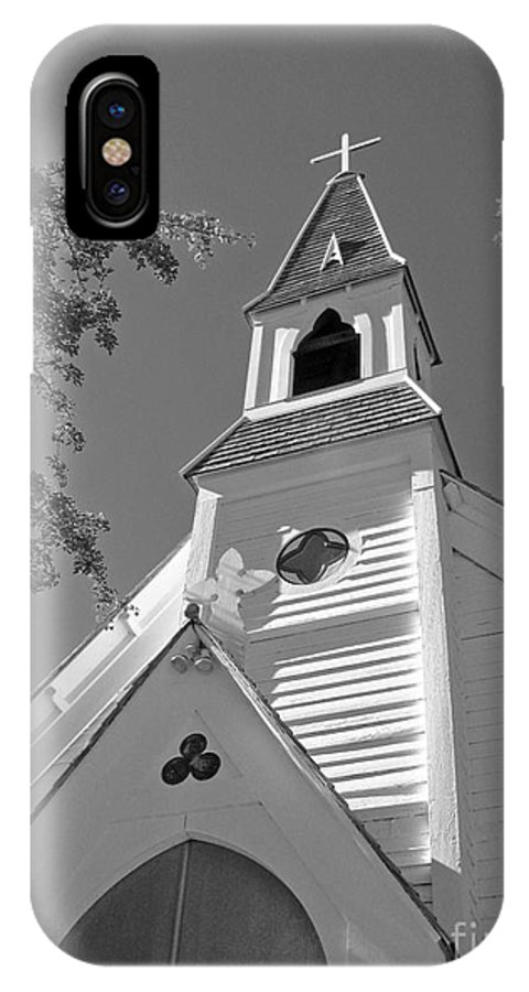 Gothic Revival IPhone X Case featuring the photograph St. Paul's Church Port Townsend In B W by Connie Fox