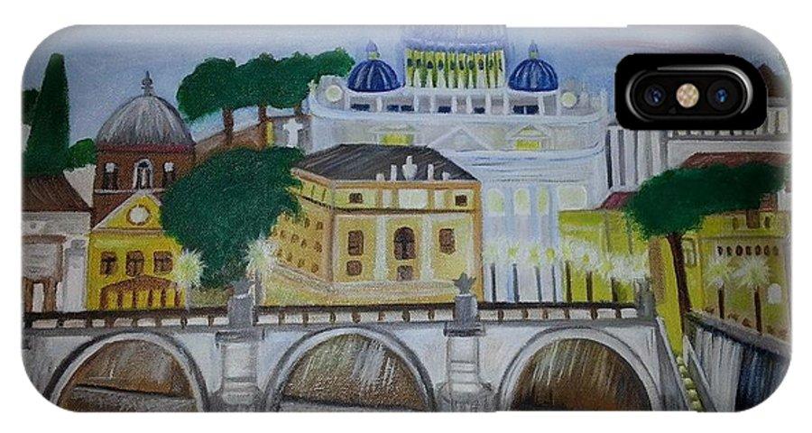 A View Of St. Peter's Basilica IPhone X Case featuring the painting St. Peter's Basilica by Flora Muhametaj