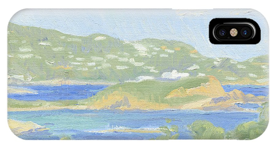 Honey Moon Beach IPhone X Case featuring the painting St. Thomas From Water Island by Candace Lovely