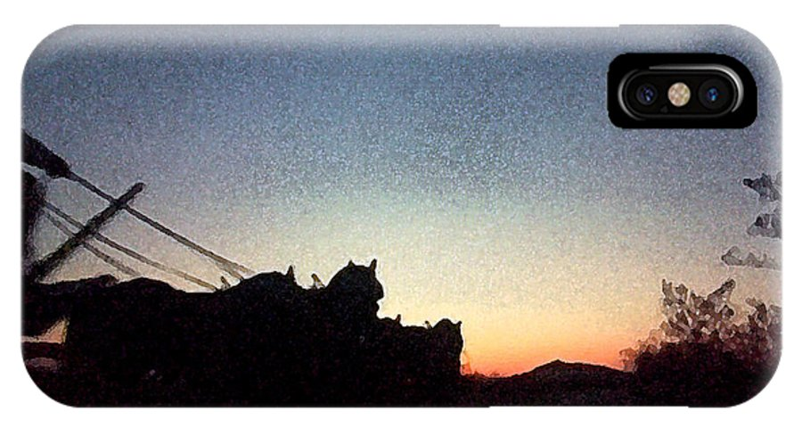 Stagecoach IPhone X Case featuring the painting Stagecoach Riding Off Into The Sunset by George Pedro