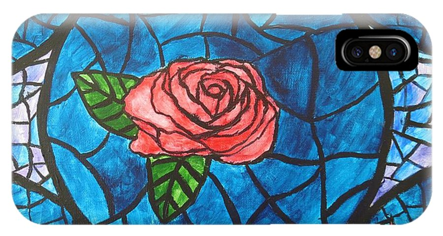 Rose IPhone X Case featuring the painting Stained Glass Roses by CE Dill