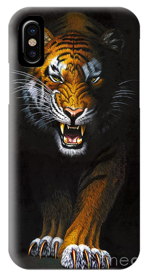 Tiger IPhone X Case featuring the photograph Stalking Tiger by MGL Studio - Chris Hiett
