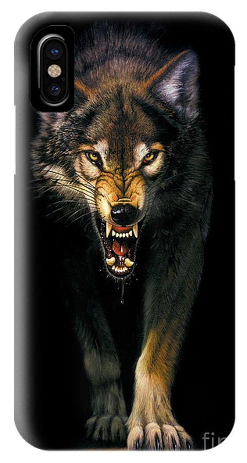 Animal IPhone X Case featuring the photograph Stalking Wolf by MGL Studio - Chris Hiett