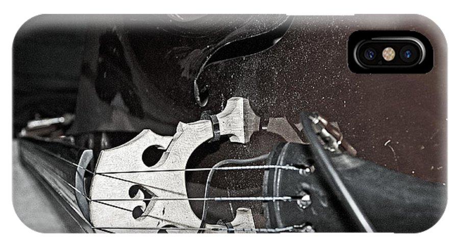 Music IPhone X Case featuring the photograph Standup Bass At Rest by Andy Crawford