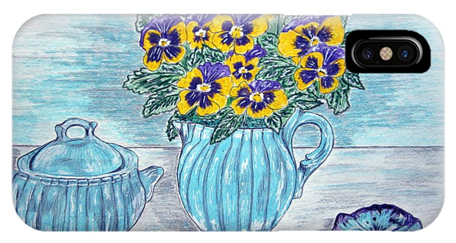 Stangl Pottery IPhone Case featuring the painting Stangl Pottery And Pansies by Kathy Marrs Chandler