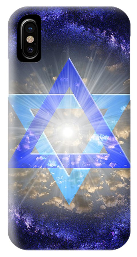 Star Of David IPhone X Case featuring the digital art Star Of David And The Milky Way by Endre Balogh