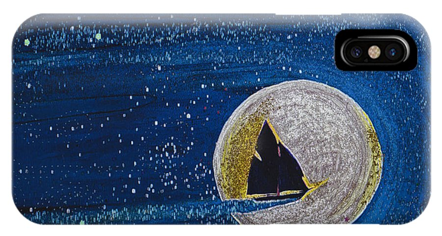First Star Art IPhone X Case featuring the painting Star Sailing By Jrr by First Star Art
