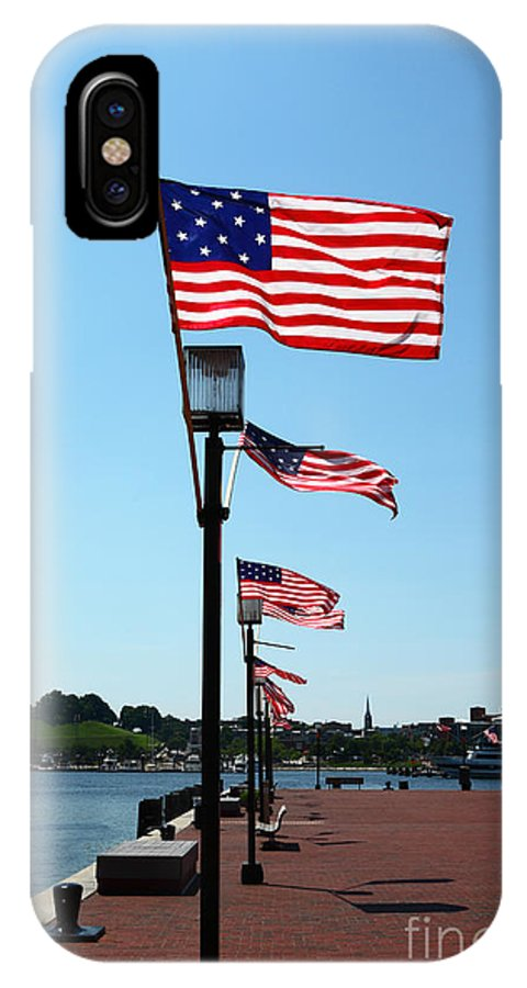 American Flag IPhone X Case featuring the photograph Star Spangled Banner Flags In Baltimore by James Brunker