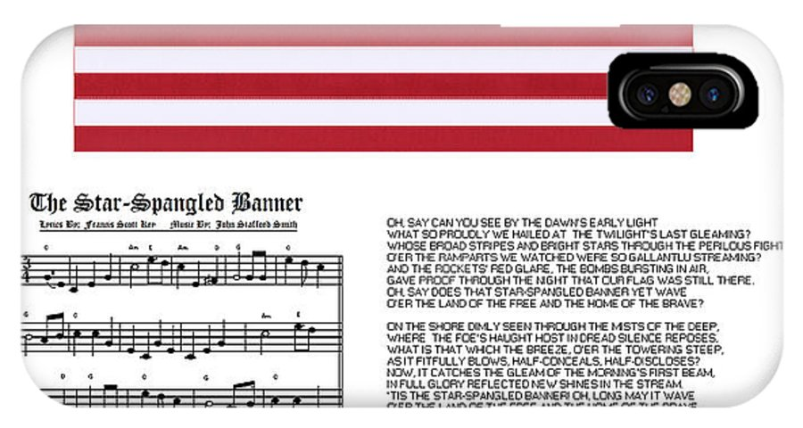 Star-spangled Banner IPhone X Case featuring the painting Star Splangled Banner Music Lyrics and Flag by Anne Norskog