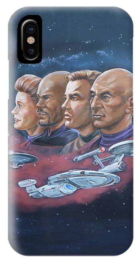 Star Trek IPhone X Case featuring the painting Star Trek Tribute Captains by Bryan Bustard