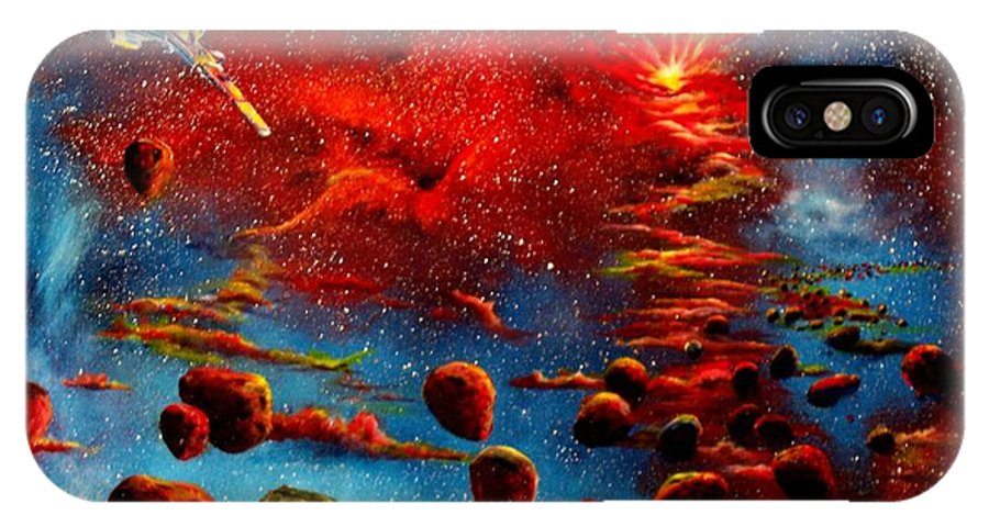Nova IPhone Case featuring the painting Starberry Nova Alien Excape by Murphy Elliott