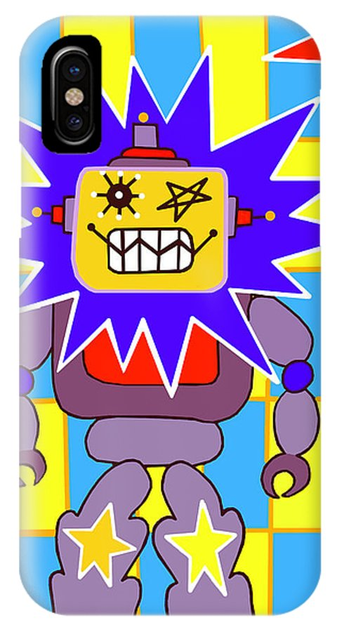 Pop Art IPhone X Case featuring the painting Starbot Robot by Lynnda Rakos