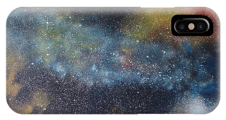 Space;stars;starry;nebula;spiral;galaxy;star Cluster;celestial;cosmos;universe;orgasm IPhone X Case featuring the painting Stargasm by Sean Connolly