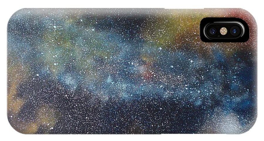 Oil Painting On Canvas IPhone X Case featuring the painting Stargasm by Sean Connolly