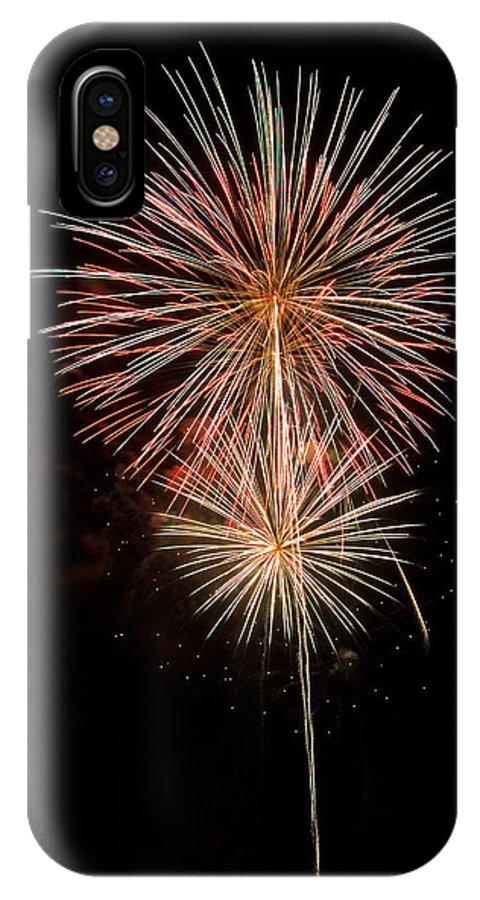 Fireworks IPhone X Case featuring the photograph Stars With Trails by Devinder Sangha