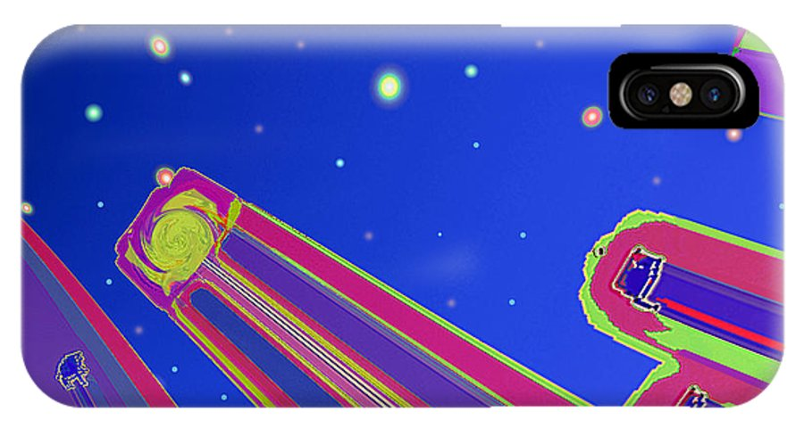 Abstract IPhone X Case featuring the digital art Starscrapers by Wendy J St Christopher