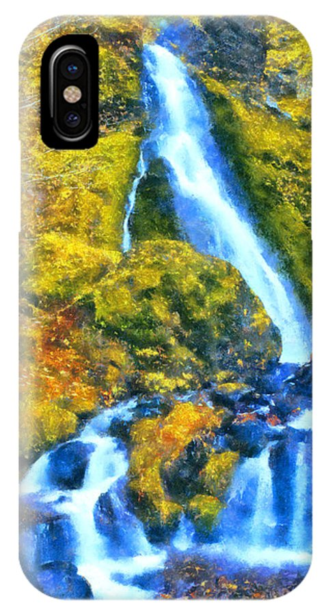 Starvation Creek IPhone X Case featuring the digital art Starvation Creek Falls by Kaylee Mason