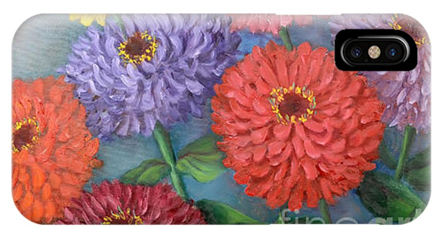 Zinnias IPhone X Case featuring the painting State Fair Zinnias by Randy Burns