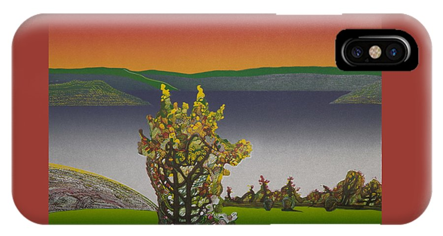 Landscape IPhone X Case featuring the drawing Static View. by Jarle Rosseland