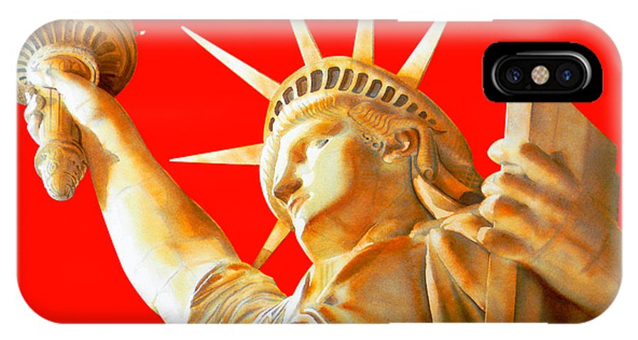 Statue Of Liberty IPhone X Case featuring the painting S T A T U E . O F . L I B E R T Y . In Red by J - O  N  E