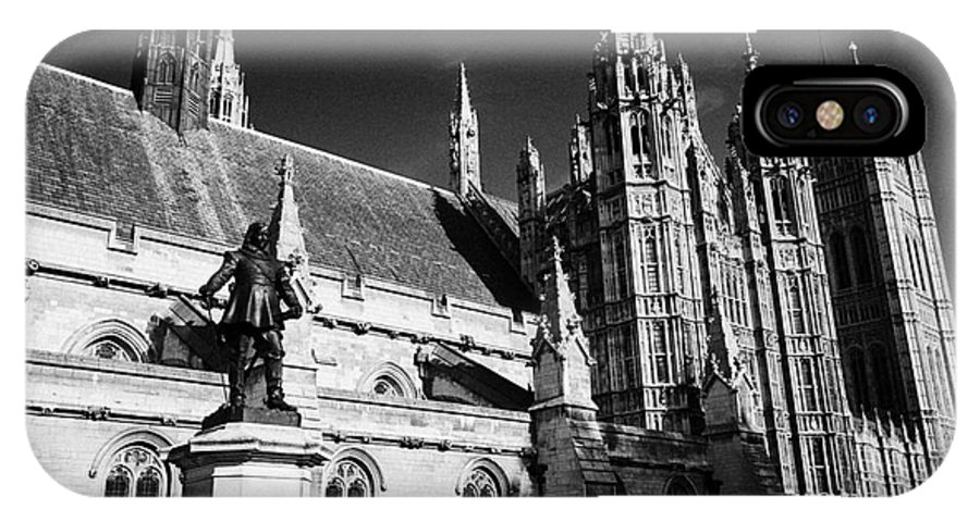 Houses IPhone X Case featuring the photograph statue of oliver cromwell at the houses of parliament London England UK by Joe Fox