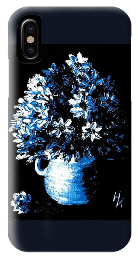 Vase Of Blue And White Flowers IPhone X Case featuring the painting Staying In The Light by Hazel Holland