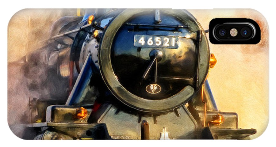 Steam Train IPhone X Case featuring the painting Steam Power by Michael Pickett