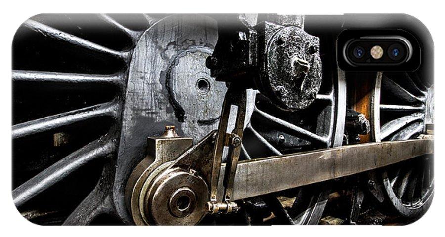 Steam Train IPhone X Case featuring the photograph Steam Train Wheels Close Up by Ken Brannen