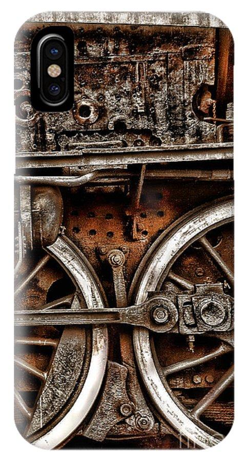 Steampunk IPhone X Case featuring the photograph Steampunk- Wheels Locomotive by Daliana Pacuraru