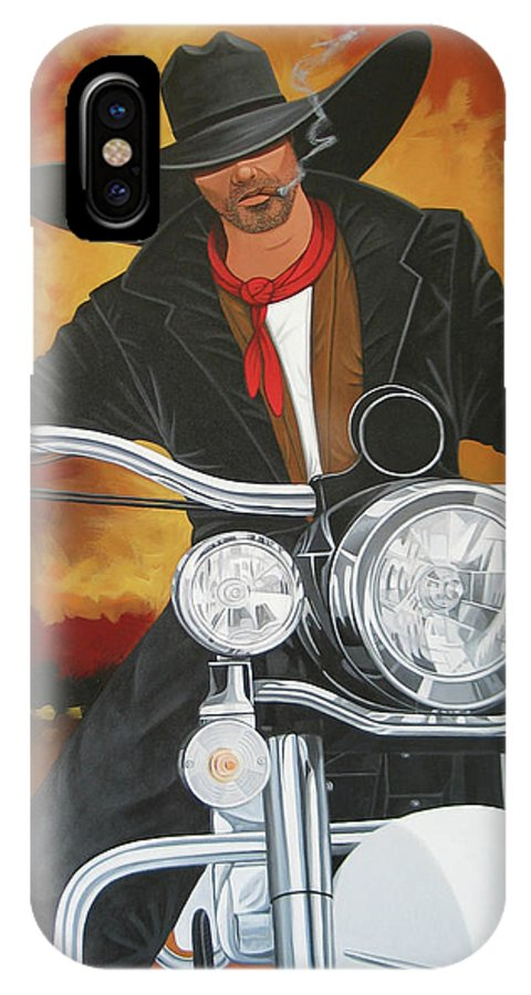 Cowboy On Motorcycle IPhone Case featuring the painting Steel Pony by Lance Headlee