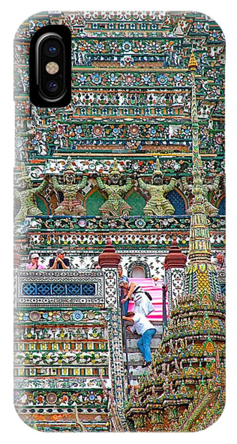 Steep Stairs Lead To Higher Level Of Temple Of The Dawn IPhone X / XS Case featuring the photograph Steep Stairs Lead To Higher Level Of Temple Of The Dawn-wat Arun In Bangkok-thailand by Ruth Hager