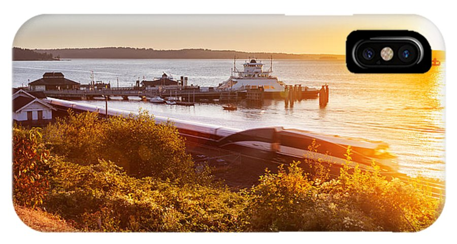 Car Ferry IPhone X Case featuring the photograph Steilacoom Ferry Dock At Sunset by Jo Ann Snover